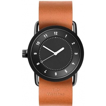 TID Watches No.1 36 Black / Tan Leather Wristband