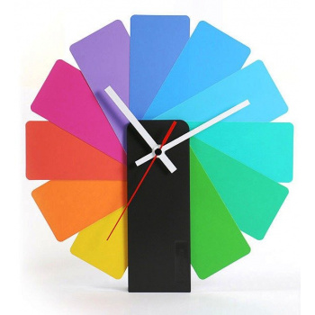 KIBARDINDESIGN TRANSFORMER ANALOG CLOCK / BLACK & MULTICOLOR