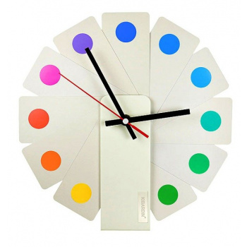 KIBARDINDESIGN TRANSFORMER ANALOG CLOCK / WHITE & SPOTS
