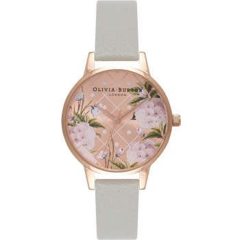 OLIVIA BURTON DOT DESIGN FLORAL GREY & ROSE GOLD OB15EG44