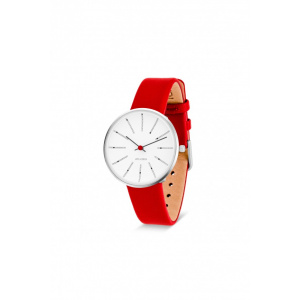 Hodinky ARNE JACOBSEN BANKERS WHITE DIAL, RED STRAP, SILVER