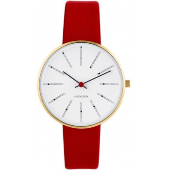 ARNE JACOBSEN BANKERS WHITE DIAL, RED STRAP, GOLD