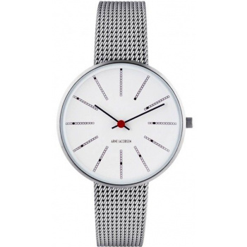 ARNE JACOBSEN BANKERS WHITE DIAL, MESH BAND, SILVER