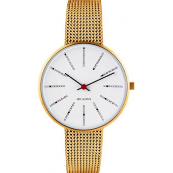 ARNE JACOBSEN BANKERS WHITE DIAL, MESH BAND, GOLD