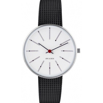 ARNE JACOBSEN BANKERS WHITE DIAL, MESH BAND, BLACK