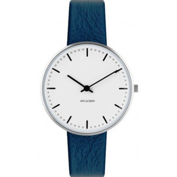 ARNE JACOBSEN CITY HALL WHITE DIAL, NAVY BLUE STRAP, SILVER