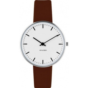 ARNE JACOBSEN CITY HALL WHITE DIAL, BROWN STRAP, SILVER
