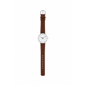 Hodinky ARNE JACOBSEN CITY HALL WHITE DIAL, BROWN STRAP, SILVER