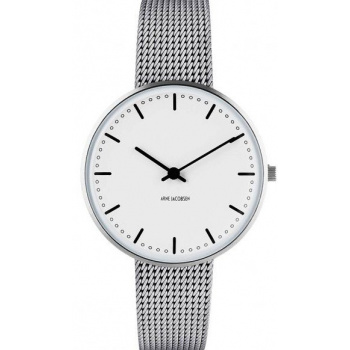 ARNE JACOBSEN CITY HALL WHITE DIAL, MESH BAND, SILVER