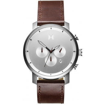 MVMT CHRONO SERIES - 45 MM SILVER BROWN LEATHER MC01-SBRL
