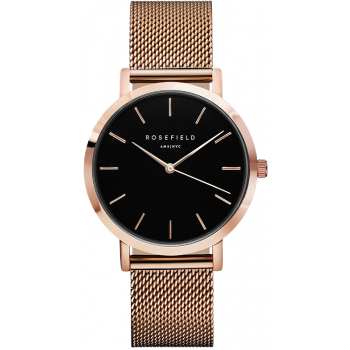 ROSEFIELD THE MERCER BLACK / ROSE GOLD 38 MM