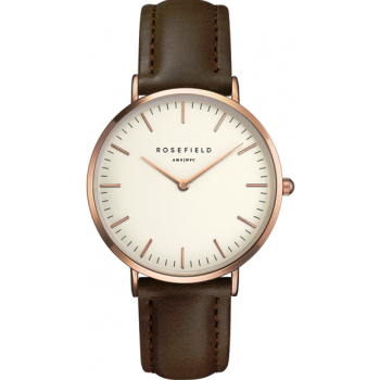 ROSEFIELD THE BOWERY ROSE GOLD WHITE / BROWN 38 MM