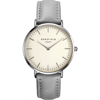 ROSEFIELD THE BOWERY SILVER WHITE / GREY 38 MM