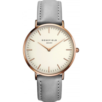ROSEFIELD THE BOWERY ROSE GOLD WHITE / GREY 38 MM