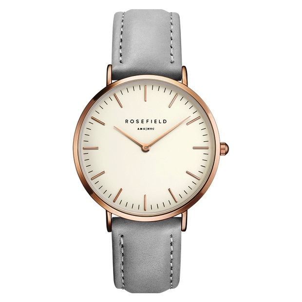Hodinky ROSEFIELD THE BOWERY ROSE GOLD WHITE / GREY 38 MM