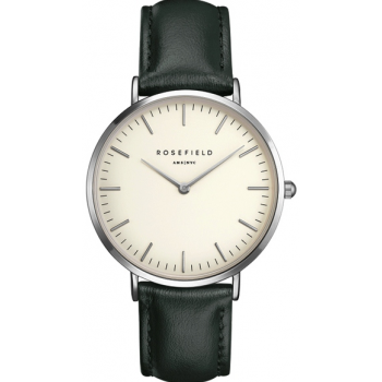 ROSEFIELD THE BOWERY SILVER WHITE / GREEN 38 MM