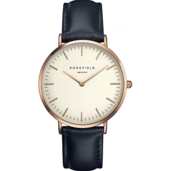 ROSEFIELD THE BOWERY ROSE GOLD WHITE / BLUE 38 MM