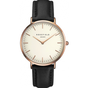 ROSEFIELD THE BOWERY ROSE GOLD WHITE / BLACK 38 MM