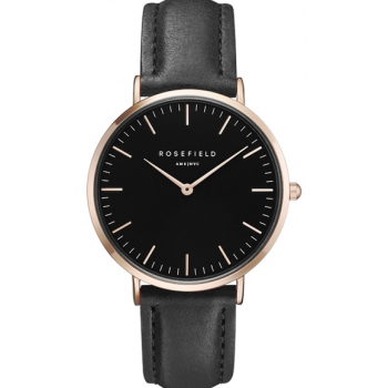 ROSEFIELD THE BOWERY ROSE GOLD BLACK / BLACK 38 MM