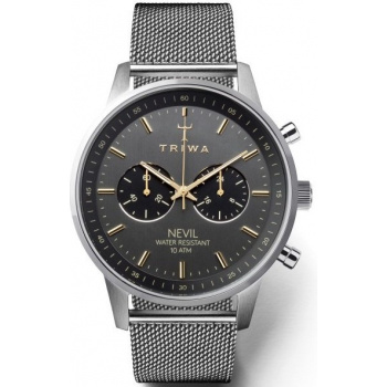 TRIWA SMOKY NEVIL - STEEL MESH STAINLESS STEEL CHRONOGRAPH