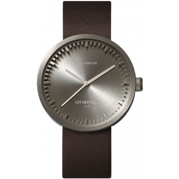 LEFF Tube watch 38 steel / brown leather strap