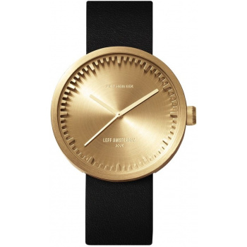 LEFF TUBE WATCH D38 / BRASS WITH BLACK LEATHER STRAP
