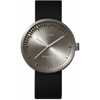 LEFF Tube watch 42 steel / black leather strap