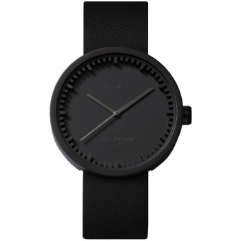 LEFF Tube watch 42 black / black leather strap