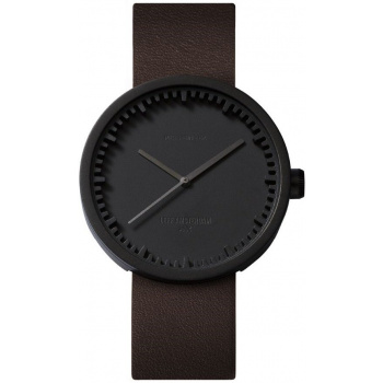 LEFF Tube watch 42 black / brown leather strap