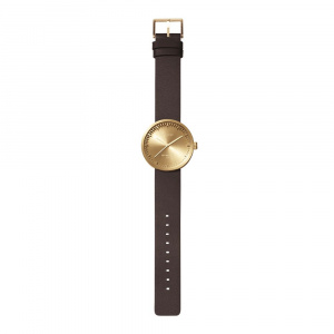 Hodinky LEFF TUBE WATCH D42 / BRASS WITH BROWN LEATHER STRAP