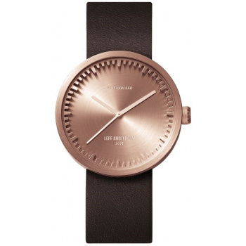 LEFF Tube watch 38 – rose gold / brown leather strap