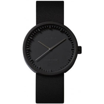 LEFF Tube watch 38 – black / black leather