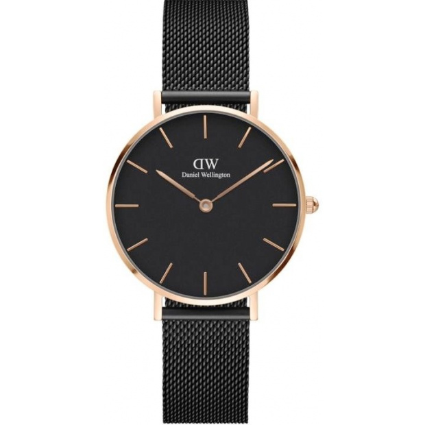 Hodinky DANIEL WELLINGTON CLASSIC PETITE ASHFIELD ROSE GOLD BLACK 32MM