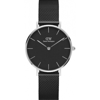 DANIEL WELLINGTON CLASSIC PETITE ASHFIELD SILVER BLACK 32MM