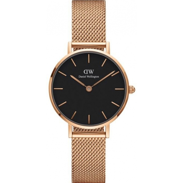Hodinky DANIEL WELLINGTON CLASSIC PETITE MELROSE ROSE GOLD BLACK 28MM