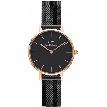 DANIEL WELLINGTON CLASSIC PETITE ASHFIELD ROSE GOLD BLACK 28MM