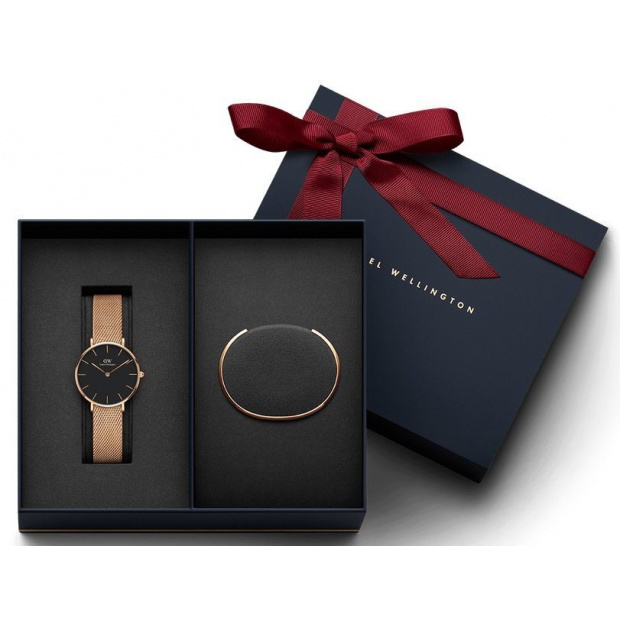 Hodinky DANIEL WELLINGTON Gift Set-  Classic Petite Melrose Rose Gold Black 28MM a Rose Gold Small