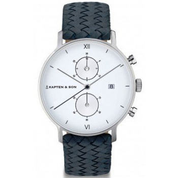 KAPTEN and SON CHRONO SILVER LIGHT BLUE WOVEN LEATHER