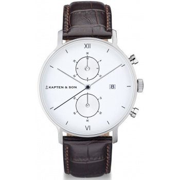 KAPTEN and SON CHRONO SILVER DARK BROWN CROCO LEATHER