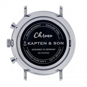 Hodinky KAPTEN and SON CHRONO SILVER BLUE DARK BROWN CROCO LEATHER