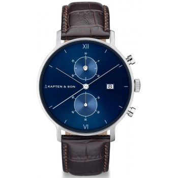 KAPTEN and SON CHRONO SILVER BLUE DARK BROWN CROCO LEATHER