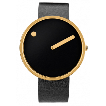 PICTO BLACK/POLISHED GOLD LEATHER