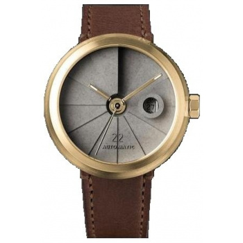 22 DESIGN STUDIO 4D Concrete Watch Automatic - Minimal Edition Brass Look