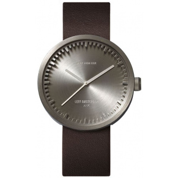 LEFF TUBE WATCH D42 / STEEL WITH BROWN LEATHER STRAP