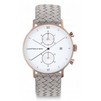KAPTEN and SON CHRONO GREY WOVEN LEATHER