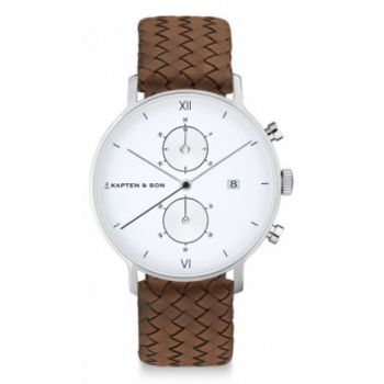 KAPTEN and SON CHRONO SILVER BROWN WOVEN LEATHER