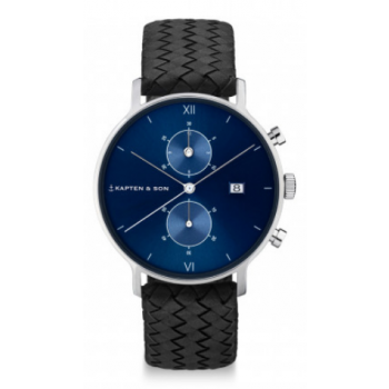 KAPTEN and SON CHRONO SILVER BLUE BLACK WOVEN LEATHER