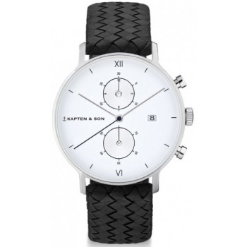 KAPTEN and SON CHRONO SILVER BLACK WOVEN LEATHER