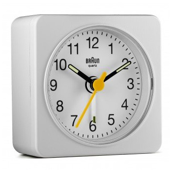BRAUN BNC019 CLASSIC TRAVEL ALARM CLOCK/WHITE