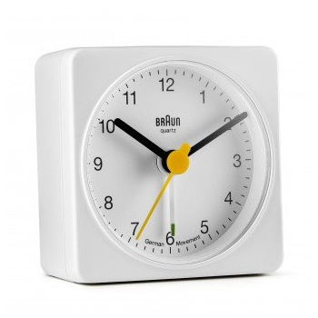BRAUN BNC002 CLASSIC TRAVEL ALARM CLOCK/WHITE